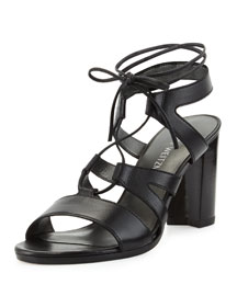 Tiegirlbingo Lace-Up Leather Sandal, Black