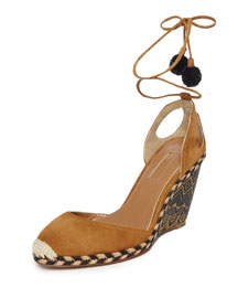Palm Beach Woven Wedge Espadrille, Cognac