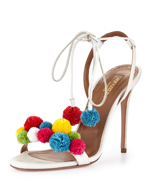 Aquazzura Raffia Pom Pom Sandal, White/Multi, White/Multicolor
