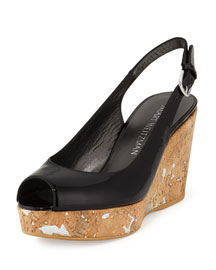 Jean Patent Cork Wedge Sandal, Black