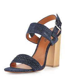 Mandy Slingback Block-Heel Sandal, Indigo