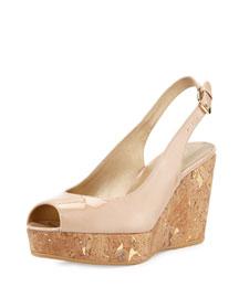 Jean Patent Cork Wedge Sandal, Bambina