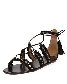 Tulum Fringed Suede Flat Sandal, Black