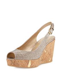 Jean Glitter Cork Wedge Sandal, Platinum