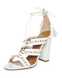 Tulum Fringed Leather Sandal, White