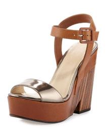 Nico 125mm Platform Wedge Sandal, Tan
