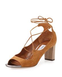 Vernie Suede Lace-Up Sandal, Tan