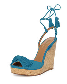 Wild One Suede Wedge Sandal, Calypso