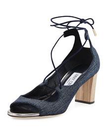 Vernie 65mm Denim Lace-Up Sandal, Indigo