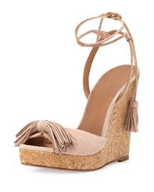 Wild One Tassel Wedge Sandal, Vintage Pink