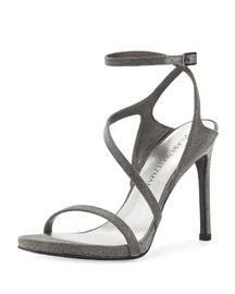 Sultry Asymmetric Shimmer Evening Sandal, Gunmetal