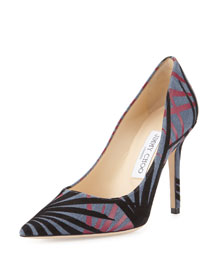 Abel Palm Pointed-Toe Pump, Navy
