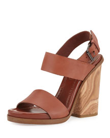 Leather Two-Band Wooden Sandal, Whiskey