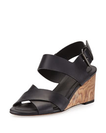 Gwyn Leather Slingback Wedge Sandal, Black