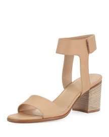 Josslyn Leather Block-Heel Sandal, Nude