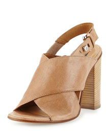Gisella Crisscross Stack-Heel Sandal, Taupe