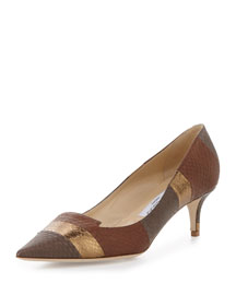 Allure Striped Snakeskin Kitten-Heel Pump, Canyon Mix