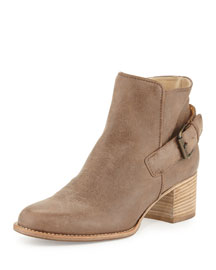 Tabatha Leather Buckle Ankle Boot, Mushroom