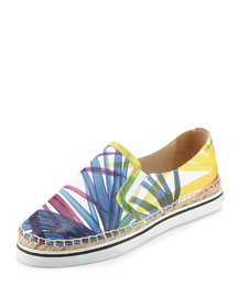 Dawn Floral-Print Leather Espadrille Sneaker, Multi Colors