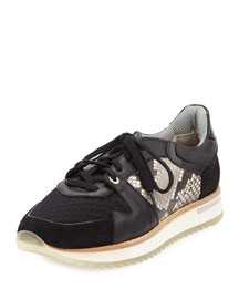 Nanette Mixed Leather Trainer Sneaker, Black