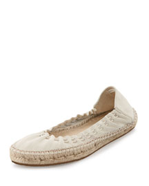 Deena Stretch Leather Espadrille-Style Ballerina Flat, Eggshell