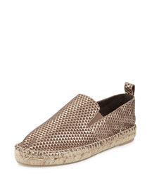 Robin Metallic Leather Slip-On Espadrille, Bronze
