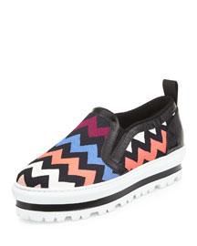 Zigzag Leather Slip-On Sneaker, Multi