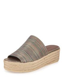 Solana Striped One-Band Espadrille Mule Sandal
