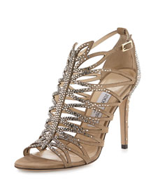 Kaye Crystal Laser-Cut 100mm Sandal, Nude
