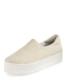 Stretch-Woven Slip-On Sneaker, Natural