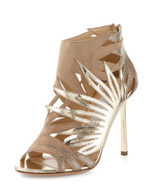 Lissy Cutout Metallic Leather Sandal, Nude