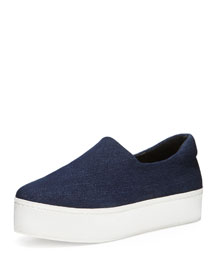 Stretch-Woven Slip-On Sneaker, Midnight Denim