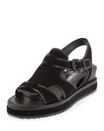 Flat Leather Grunge Sandal, Black