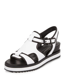 Flat Leather Grunge Sandal, Pristine