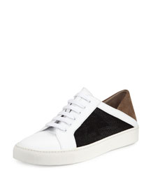 Anette Mesh-Side Low-Top Sneaker, Alabaster/Black/Pumice