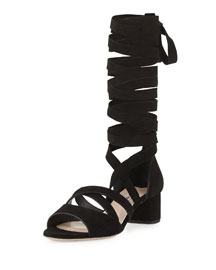 45mm Suede Gladiator Sandal, Nero