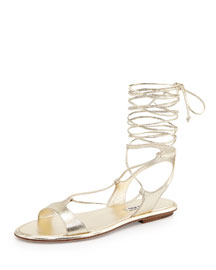 Ankle-Wrap Leather Gladiator Sandal, Pirite