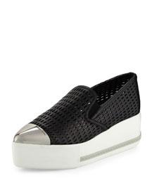 Perforated Cap-Toe Platform Sneaker, Black