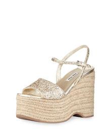 Glitter Platform Espadrille Wedge Sandal, Pirite