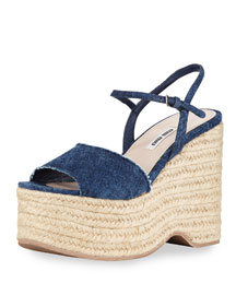 Denim Platform Espadrille Wedge Sandal, Bleu