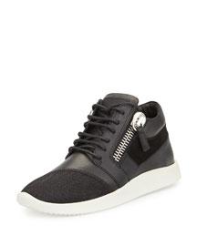 Side-Zip Lace-Up Mid-Top Sneaker, Black