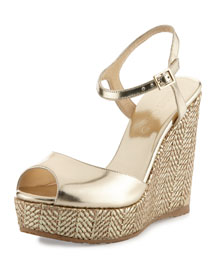Perla Metallic Wedge Sandal, Gold
