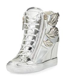 Metallic Leaf High-Top Wedge Sneaker, Silver