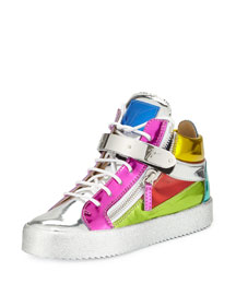 Metallic Leather High-Top Sneaker, Multicolor