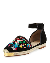 Embroidered Suede Ankle-Wrap Espadrille, Black