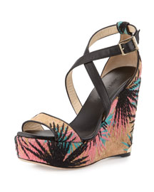 Portia Palm-Embroidered Wedge Sandal, Multi