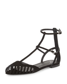 Laser-Cut Caged Suede Flat Sandal, Black
