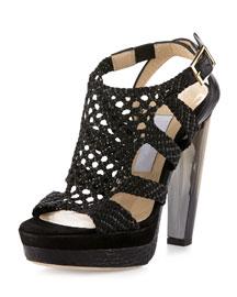 Taytum Woven Platform Sandal, Black