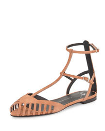 Laser-Cut Caged Suede Flat Sandal, Tan