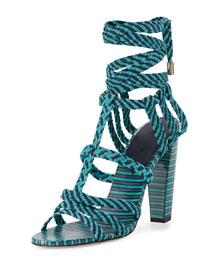 Trix 100mm Woven Ankle-Wrap Sandal, Navy/Malibu